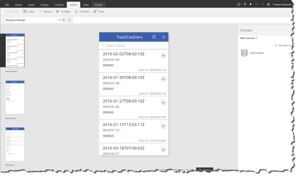 PowerApps Screens