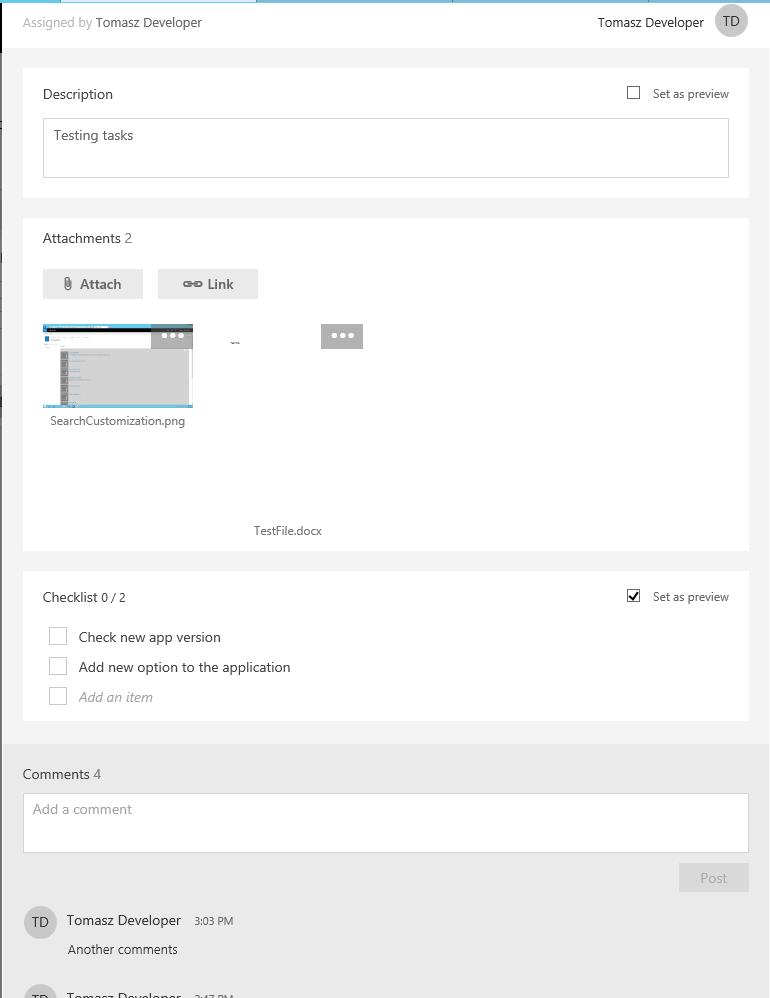 Planner Task details